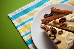 Vanillekuchen und -kaffee stockfotos