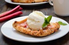 Vanilleroomijs, eigengemaakte gebakken rabarberpastei Stock Afbeeldingen