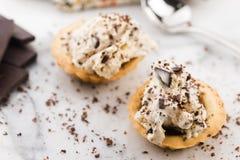 Vanilleroomijs met chocoladeschilfers - straciatella stock fotografie