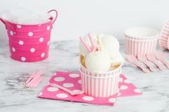 Vanillia-Eiscreme in einem Rosa streifte Schüssel ab Lizenzfreie Stockfotografie