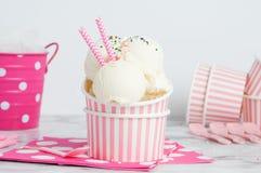 Vanillia-Eiscreme in einem Rosa streifte Schüssel ab Lizenzfreie Stockbilder