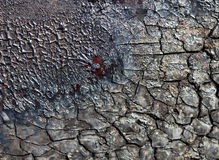 Vanished surface cracked and charred after the fire Stock Photo