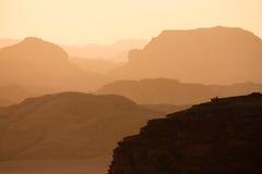 Vanishing hills in Wadi Rum 2. Hills in the desert during sunset. Shot in Wadi Rum, Jordan stock photos