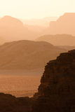Vanishing hills in Wadi Rum Stock Photography