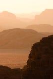 Vanishing hills in Wadi Rum. Hills in the desert during sunset. Shot in Wadi Rum, Jordan stock photography