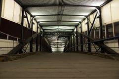 Vanishing metal hallway. Leading to a ship in Hamburg harbor Stock Image