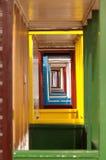 Vanishing point. Of colorful beach hut doorways Stock Photography