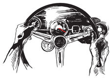 Vanishing Point, Freehand Sketching, Vector - Muscle Car Interio royalty free illustration