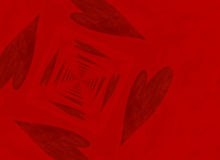 Vanishing point perspective of red heart backgrounds Royalty Free Stock Photo