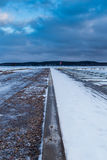 Vanishing point. View of a harbour in wintertime Stock Images
