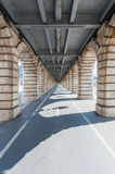 Vanishing point view from under Bercy  bridge in Paris. France Stock Photos