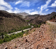 Vanishing. Tessaout river, Tessaout valley, Morocco Royalty Free Stock Images