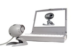Vanity Computer Web Cam Looking at Image on Laptop Stock Photography