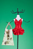 Vanity. Dummy hanger in red dress holding a shopping bag Stock Images