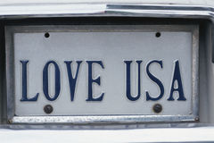 Vanity License Plate. Virginia license plate LOVE USA Stock Images