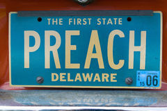 Vanity License Plate - Delaware Stock Photography