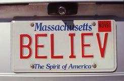 Vanity License Plate - Massachusetts Stock Image