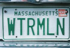 Vanity License Plate - Massachusetts Stock Images