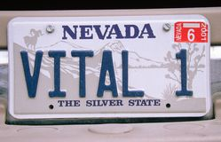 Vanity License Plate - Nevada Stock Photos