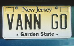 Vanity License Plate - New Jersey Stock Photo