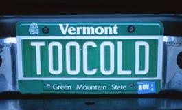 Vanity License Plate - Vermont Stock Image