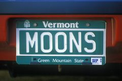 Vanity License Plate - Vermont Stock Photo