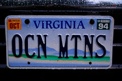 vanity license plate Virginia Royalty Free Stock Photos