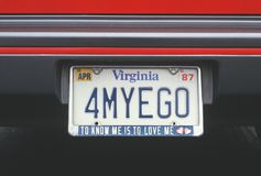 Vanity License Plate - Virginia Stock Photography