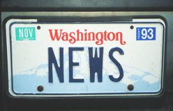 Vanity License Plate - Washington Stock Photography