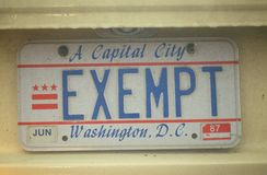 Vanity License Plate - Washington, DC Royalty Free Stock Images