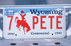 Vanity License Plate - Wyoming Stock Images