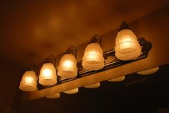 Vanity Lights. Bathroom Vanity Light Fixture with shades Stock Images
