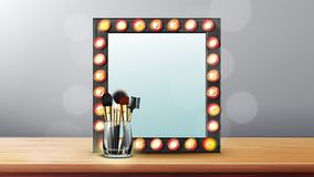 Vanity Mirror Vector. Makeup Vanity Frame. Dressing Woman Concept. Backstage Room. Illustration. Vanity Mirror Vector. Makeup Vanity Frame. Dressing Woman vector illustration