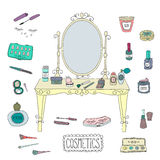 Vanity table with mirror and makeup. Royalty Free Stock Photography