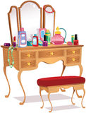 Vanity table and mirrors stock image