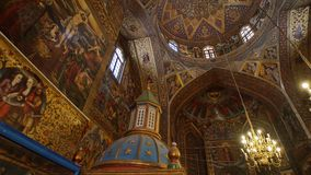 Vank Cathedral interior. ISFAHAN, IRAN - MAY 8, 2015: The beautiful paintings on the walls and ceiling of the Vank Cathedral interior, circular paning stock video