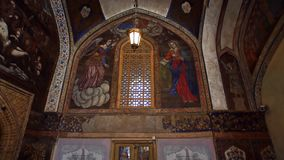Vank Cathedral interior. ISFAHAN, IRAN - MAY 8, 2015: Vank Cathedral beautiful interior, tilting to the ceiling stock video footage