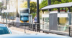 Metrovalencia tram, a public transport system created in 1988 Royalty Free Stock Photo