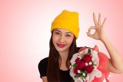 Vanlentine heureux de style de fraise-mère de hib de femme Photo stock
