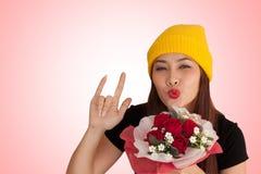Vanlentine heureux de style de fraise-mère de hib de femme Image stock