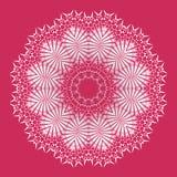 Vanlig delikat rund prydnadvit och silvergrå färger på centrerat rött vektor illustrationer