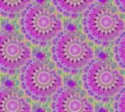 Vanlig gräsplan för mintkaramell för blom- prydnader för runda purpurfärgad violett och gult sömlöst och diagonalt stock illustrationer