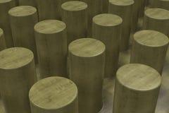 Vanlig gul träyttersida med cylindrar Arkivbild