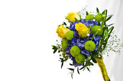 Vanlig hortensia och rosor som gifta sig buketten Arkivfoto