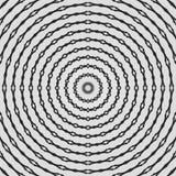 Vanlig svartvit krullad modell som radial arrangera i rak linje Rastrerad linje cirkelillustration abstrakt bakgrundsfractal arkivfoton