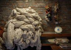 Vanlig ull i en filtfabrik Arkivfoton