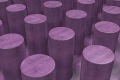 Vanlig violett träyttersida med cylindrar Arkivfoton
