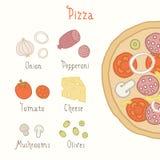 Vanliga pizzaingredienser royaltyfri bild