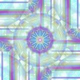 Vanligt purpurfärgat ljust för invecklad och delikat dekorativ modell - blå gul mintkaramellgräsplan och centrerat vitt vektor illustrationer
