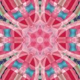 Vanligt utsmyckat centrerat rött och turkos för stjärnaprydnad rosa vektor illustrationer